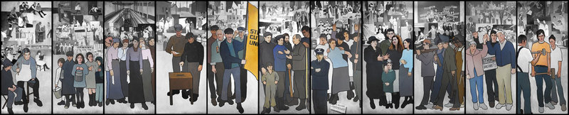 """Removing this 36-foot labor-history mural from the lobby of the Department of Labor in Augusta was an act of """"government speech"""" excercised by the sitting governor, according to a ruling Friday by U.S. District Judge John A. Woodcock Jr. in Bangor. Critics say the action was """"nothing less than government censorship of artistic speech in violation of the First Amendment."""""""