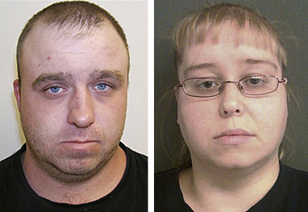 Booking photos released today by the Vermont State Police show Allen Prue, 30, of Waterford, Vt., and his wife, Patricia Prue, 33, who are charged with murder in the death of St. Johnsbury teacher Melissa Jenkins.
