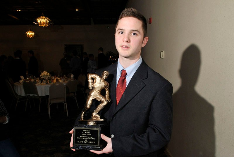 THE WINNER: C.J. Maksut of Thornton Academy became the 17th recipient of the prestigious Travis Roy Award during ceremonies at the Class A coaches banquet Sunday. He scored 32 goals and had 27 assists to lead the Trojans to their second consecutive Class A state ice hockey championship.