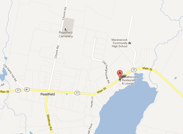 A map shows the location of Weathervane Restaurant in Readfield that was reportedly robbed Wednesday night.
