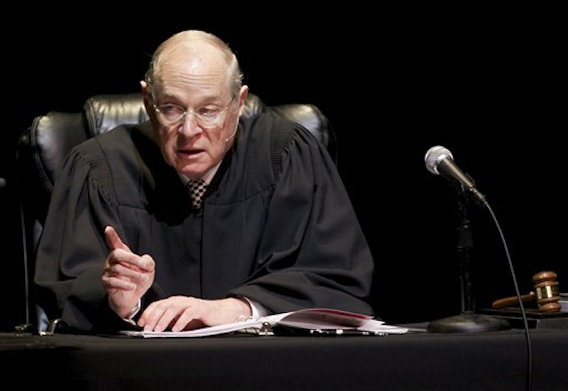 In this Jan. 31, 2011 photo, U.S. Supreme Court Justice Anthony Kennedy presides over a representation of