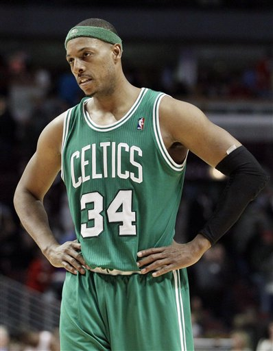 Boston Celtics forward Paul Pierce reacts after teammate was called for a foul during the second half of an NBA basketball game against the Chicago Bulls in Chicago, Thursday, April 5, 2012. The Bulls won 93-86. (AP Photo/Nam Y. Huh)