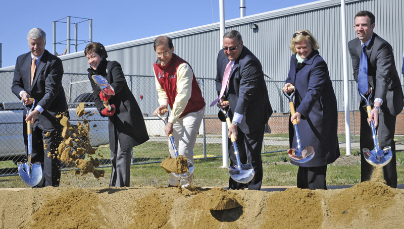Breaking ground for the new Idexx facility today are, from left;: U.S. Rep. Mike Michaud, U.S. Sen. Susan Collins, Idexx CEO Jonathan Ayers, Gov. Paul LePage, U.S. Rep. Chellie Pingree and state Sen. Phil Bartlett.