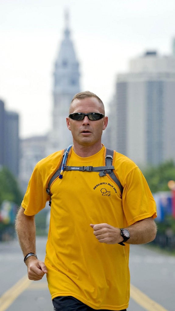 RESILIENT: Col. Jack Mosher runs through Philadelphia during the second annual Resiliency Run for veterans in 2010. Later this month, Mosher, a veteran of the Afghanistan war, plans to run about 62 miles through a Panamanian jungle for the fourth annual event.