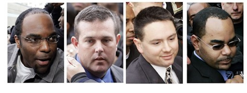 Four New Orleans police officers are seen in a combination of photos as they arrive for booking in New Orleans. From left: Robert Faulcon Jr., Robert Gisevius Jr., Kenneth Bowen, and Anthony Villavaso II. Five former police officers are scheduled to be sentenced Wednesday, April 4, 2012, for deadly shootings at a bridge after Hurricane Katrina, a coda for a case that became a high-profile symbol of police brutality and residents' suffering after the 2005 storm. (AP Photos, FIle)