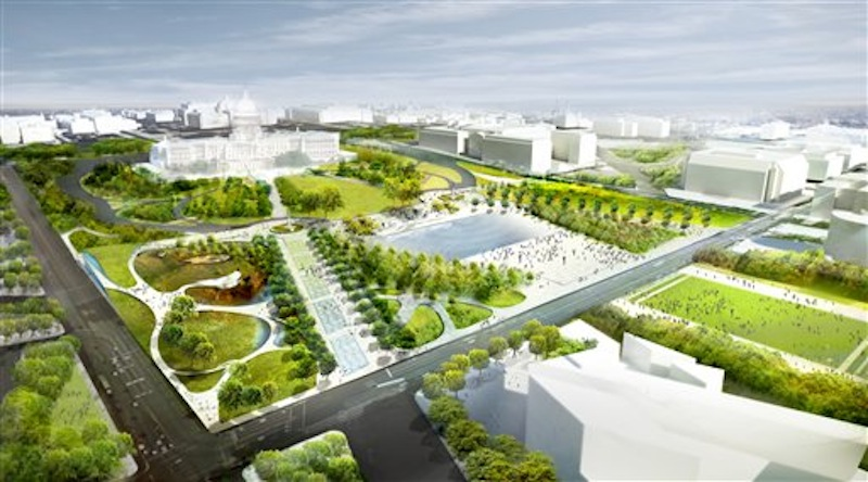 This undated artist's rendering provided by Diller Scofidio Renfro & Hood Design, shows a proposed design for Union Square, one of three overused and neglected areas of the National Mall in Washington, which architects and designers have been competing for the chance to renew. (AP Photo/Diller Scofidio Renfro & Hood Design)