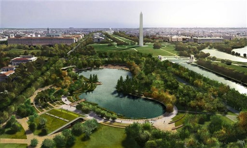 This undated artist's rendering provided by Nelson Byrd Woltz Landscape Architect & Paul Murdoch Architects, shows a proposed design for Constitution Gardens, one of three overused and neglected areas of the National Mall in Washington, which architects and designers have been competing for the chance to renew. (AP Photo/Nelson Byrd Woltz Landscape Architect & Paul Murdoch Architects)