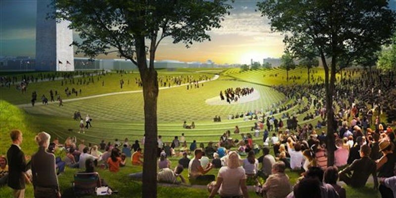 This undated artist's rendering provided by Diller Scofidio Renfro & Hood Design shows a proposed design for the National Washington Monument grounds at Sylvan Theater, one of three overused and neglected areas of the National Mall in Washington, which architects and designers have been competing for the chance to renew. (AP Photo/Diller Scofidio Renfro & Hood Design)