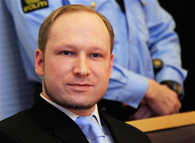In this Feb. 6, 2012 photo, Anders Behring Breivik, a right-wing extremist who confessed to a bombing and mass shooting that killed 77 people on July 22, 2011, arrives for a detention hearing at a court in Oslo, Norway. Breivik is not criminally insane, a psychiatric assessment found Tuesday April 10, 2012, contradicting an earlier examination. (AP Photo/Lise Aserud, Scanpix Norway) BNC