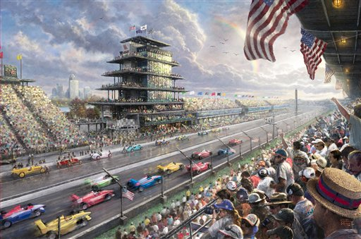 """Thomas Kinkade's """"Indy Excitement, 100 Years of Racing at Indianapolis Motor Speedway."""" Kinkade's paintings of idyllic landscapes, cottages and churches have been big sellers for dealers across the United States."""