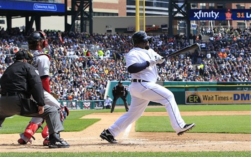Detroit Tigers' Prince Fielder hits a single during the second inning of a baseball game agains the Boston Red Sox in Detroit, Thursday, April 5, 2012. (AP Photo/Carlos Osorio)