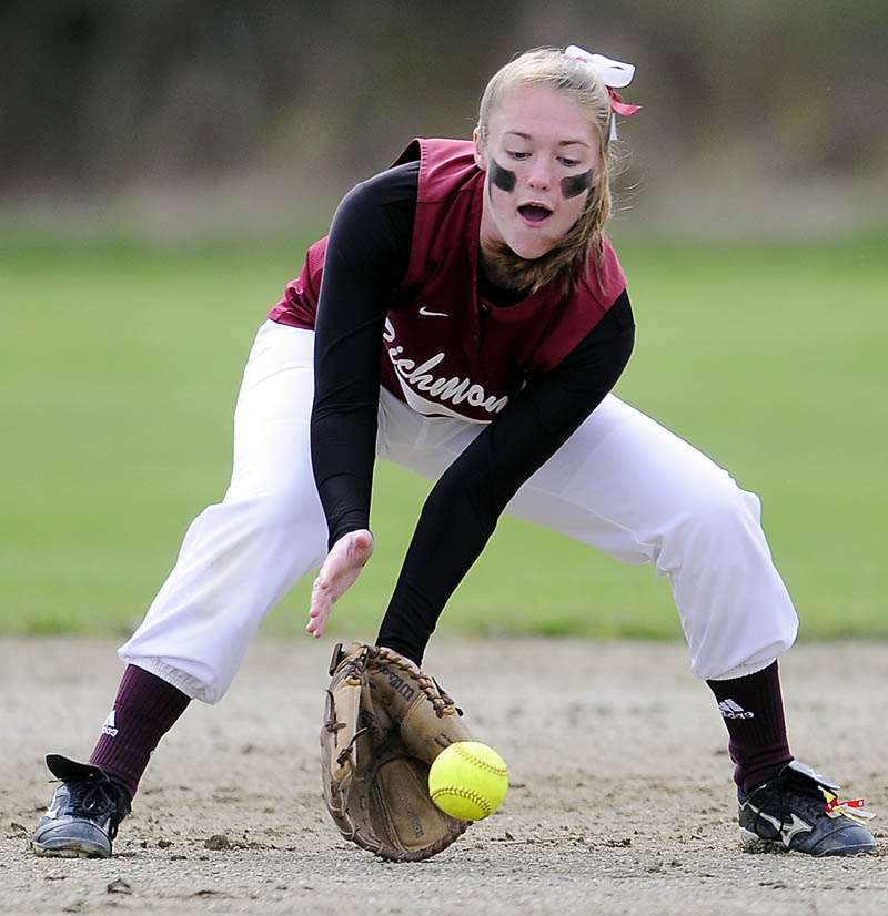 IN THE BAG: Richmond High School's Brianna Snedeker collects a grounder to second base Thursday during a softball match up against Buckfield High School at Richmond.