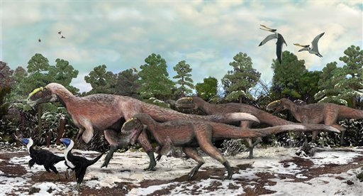 This artist's conception provided by the Beijing Institute of Vertebrate Paleontology and Paleoanthropology shows Y. huali and other smaller dinosaurs roaming 125 million years ago.
