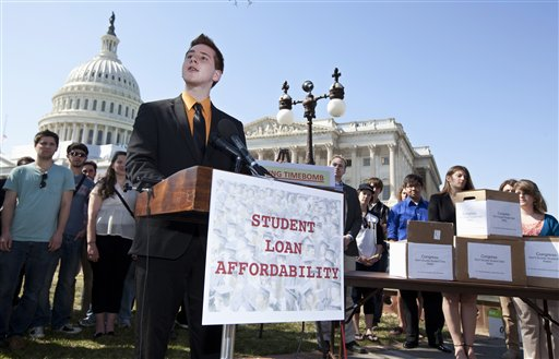 Northern Arizona University freshman Tyler Dowden, 18, speaks during a news conference on Capitol Hill in Washington on March 13 to announce the collection of over 130,000 letters to Congress to prevent student loan interest rates from doubling this July.