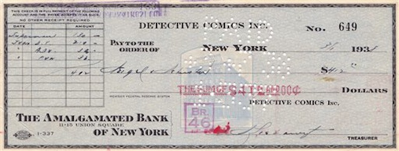 In this image released by ComicConnect.com, an image showing the canceled check sent to Superman creators Jerry Siegel and Joe Schuster in 1938. The check that paved the way for not just comic books, but TV, radio and films, is up for auction more than seven decades after it was cut by DC Comics. (AP Photo/ComicConnect.com)
