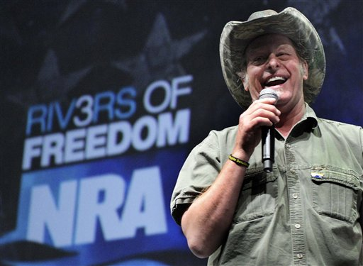 In this May 1, 2011 photo, musician and gun rights activist Ted Nugent addresses a seminar at the National Rifle Association's convention in Pittsburgh. Nugent says he will meet with the Secret Service on Thursday to explain his raucous remarks about what he called Barack Obama's evil, America-hating administration comments that some interpreted as a threat against the president. (AP Photo/Gene J. Puskar)