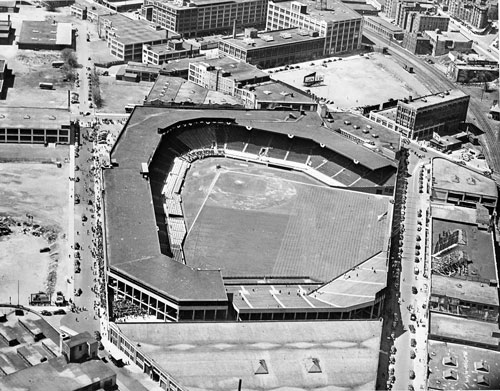HOW IT STARTED: This mid-1900s aerial photo shows Boston's Fenway Park, which opened on April 20, 1912.