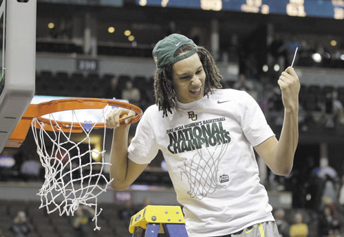 ALL RIGHT: Baylor center Brittney Griner (42) cuts the net down after the Bears won the NCAA women's championship Tuesday in Denver.