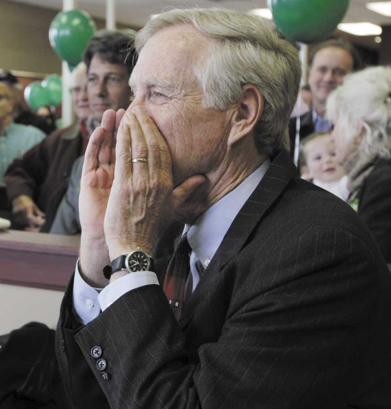 FIRST OFFICE: Angus King, Independent candidate for the U. S. Senate, responds to onlookers as he opens his first campaign office in Brunswick on Monday.