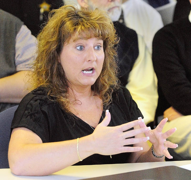 MEETING: Capt. Marsha Alexander, administrator of the Kennebec County jail, talks about the Criminogenic Addiction & Recovery Academy (CARA) during a Maine Board of Corrections working group meeting on Thursday in Augusta.