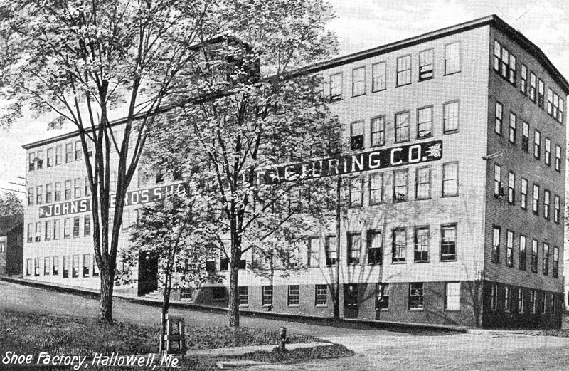 A LOOK BACK: An old Hallowell shoe company factory is seen in this undated photo. The wooden factory was on the corner of Second and Central streets and torn down in the 1950s.