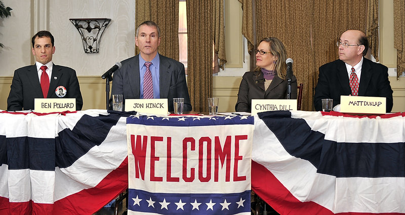 Democratic candidates for U.S. Senate Ben Pollard, Jon Hinck, Cynthia Dill and Matt Dunlap debate at the Portland Club on Saturday.