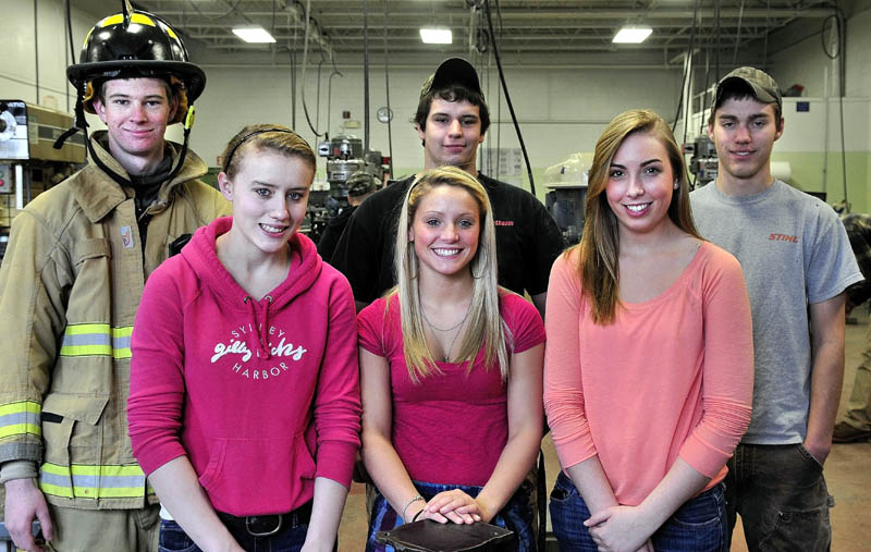 COMPETITORS: Mid-Maine Technical Center Skills USA competitors, from left, in back are Michael Benecke, Chris Warner, Nick Weymouth and in front, Kelsea Tortorella, Emily York and Makenzie Kohler. They will advance to the National Skills USA competition in Kansas.
