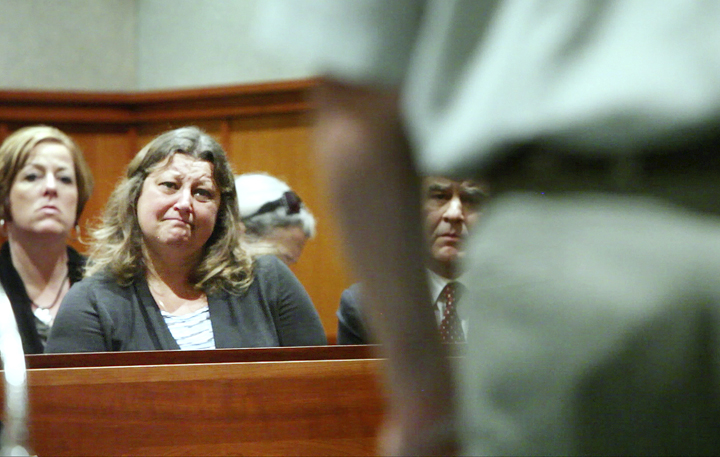 Lisa Kolofsky listens to William Briggs as he addresses her directly during a plea change hearing at Cumberland County Superior Court in Portland today. Briggs pleaded guilty to killing Peter Kolofsky, Lisa's husband, in a hunting accident in Sebago in 2011.
