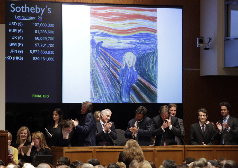 "Edvard Munch's ""The Scream"" is auctioned at Sotheby's Wednesday in New York. It sold for a record $119,922,500."