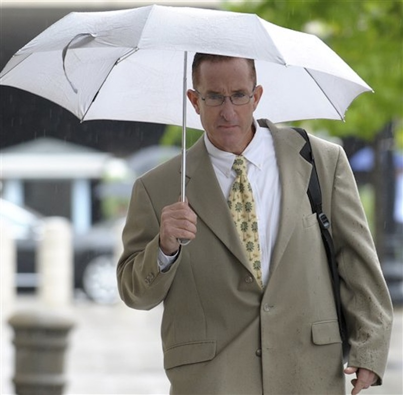 Former trainer Brian McNamee arrives at the Federal court in Washington, Monday, May 14, 2012. McNamee, Roger Clemens' chief accuser is expected to testify Monday against the former pitcher, a make-or-break moment for the prosecution as it seeks to convict Clemens of perjury. (AP Photo/Susan Walsh)