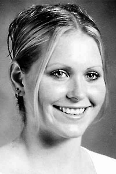 This 2003 photo shows Brittany Tibbetts, a Noble High School softball player who won Gatorade Player of the Year. Tibbetts was killed in a shootout in Greenland, N.H. Police say she had $14,000 in cash on her.