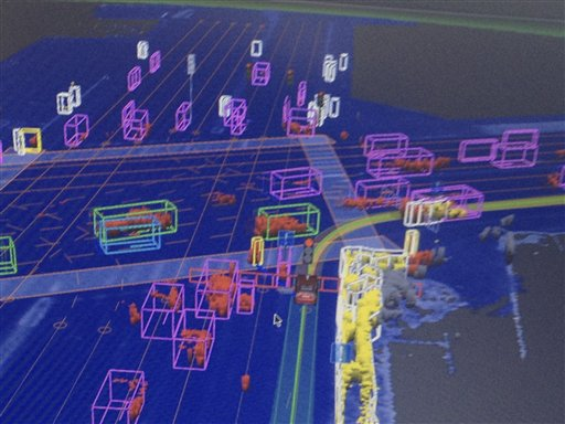 A screen capture of what Google's driverless car sees as it uses radar to navigate along a street.