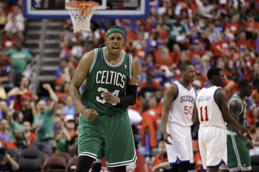 Boston Celtics' Paul Pierce reacts after a foul during the second half of Game 3 of an NBA basketball Eastern Conference semifinal playoff series against the Philadelphia 76ers, Wednesday, May 16, 2012, in Philadelphia. Boston won 107-91. (AP Photo/Matt Slocum)
