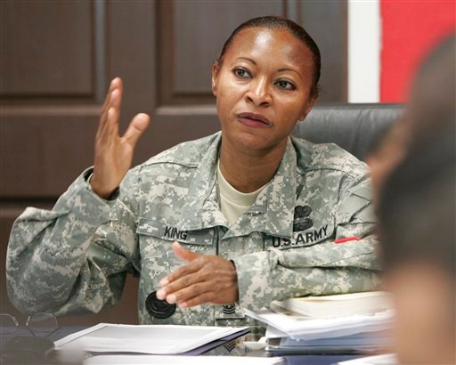 Command Sgt. Maj. Teresa King, 48, conducts a class with soldiers at Fort Jackson, S.C., in this September 2009 photo,