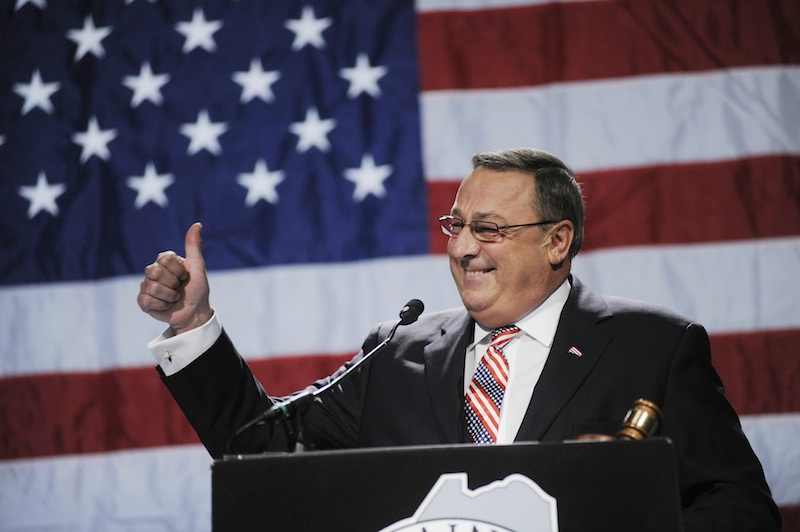 Gov. Paul LePage gives a thumbs up as he speaks at the Maine Republican Party State Convention on Sunday.
