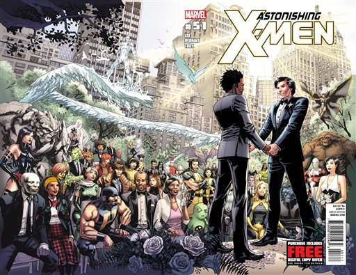 """This comic book cover image released by Marvel shows """"Astonishing X-Men,"""" No 51. Marvel Comics said Tuesday, May 22, 2012 that the Canadian character named Jean-Paul Beaubier, right, will marry his beau, Kyle Jinadu, in this edition due out June 20. (AP Photo/Marvel Comics)"""