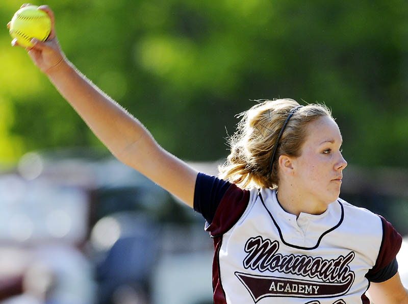 Staff photo by Andy Molloy PERFECT: Monmouth Academy's Reen Kahl winds up a pitch Monday during a softball match up against Hall-Dale High School at Monmouth.