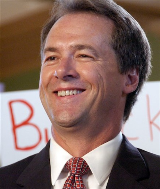 Montana Attorney General Steve Bullock is seen at an event in which he announced the start of his 2012 gubernatorial campaign on in this Sept. 7, 2011 file photo taken in Billings, Mont. Twenty-two states and the District of Columbia are backing Montana in its fight to prevent the U.S. Supreme Court's 2010 Citizens United decision from being used to strike down state laws restricting corporate campaign spending. Bullock argues that political corruption in the Copper King era led to the state ban on corporate campaign spending. A clarification of Citizens United is needed to make clear that states can block certain political spending in the interest of limiting corruption, he said. On Friday, May 18, 2012 Montana's case was given a boost when U.S. Sens. John McCain, R-Ariz., and Sheldon Whitehouse, D-D-R.I., signed on in support. (AP Photo/Matthew Brown, File)