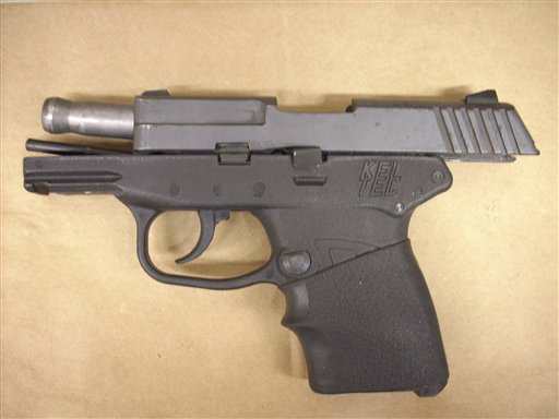 This Feb. 27, 2012, photo released by the Florida State Attorney's Office shows the Kel-Tec PF-9 9mm handgun used by George Zimmerman.