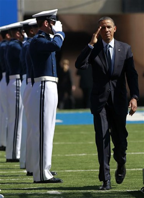 President Barack Obama arrives to deliver the commencement address at the U.S. Air Force Academy, Wednesday, May 23, 2012, in Colorado Springs, Colo. (AP Photo/Pablo Martinez Monsivais)