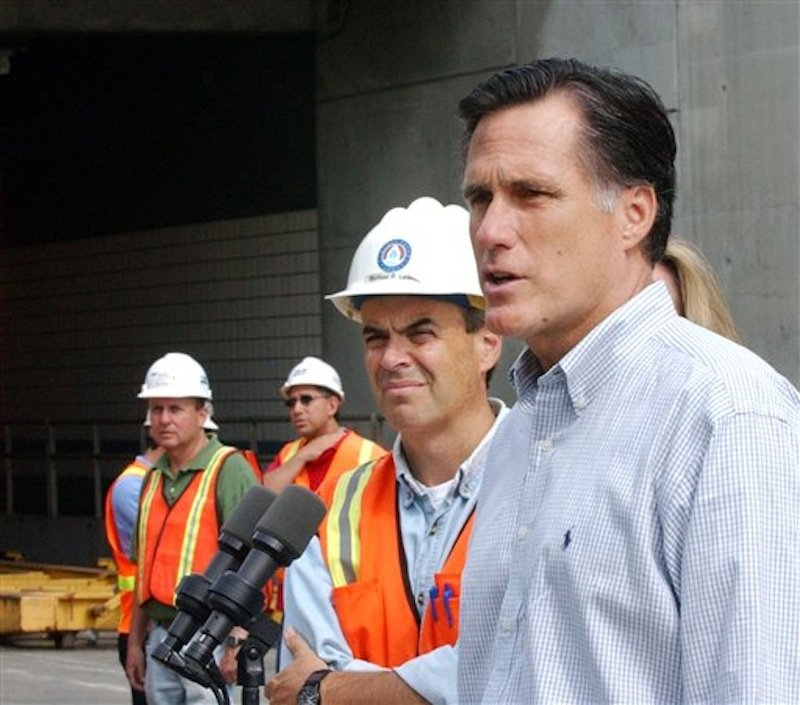 In this July 15, 2006, file photo, Massachusetts Gov. Mitt Romney, right, speaks to members of the media outside one of the Big Dig tunnels, following a tour of the deadly Big Dig highway tunnel in Boston. Mike Lewis, Big Dig project director is at center. Romney was at his New Hampshire vacation home on a summer night in 2006 when tons of concrete ceiling panels in one of Bostonís Big Dig highway tunnels collapsed. Romney, then in his final year as Massachusetts governor, dashed back to Boston and immersed himself in the crisis. His response offers insights into what kind of leader the expected Republican nominee would be if elected president. Romney has made his management skills a major selling point in his campaign. (AP Photo/Lisa Poole, File)