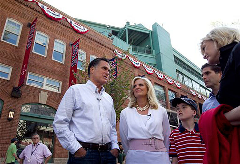 In this April 16, 2012 file photo, Republican presidential candidate, former Massachusetts Gov. Mitt Romney and his wife Ann, are seen outside Fenway Park baseball stadium in Boston. Donít bet on Mitt Romney winning his home state. Or even trying. ìThatís not been a topic of discussion,î Romney campaign adviser Kevin Madden said when asked if the Republican former Massachusetts governor would compete in the heavily Democratic state. (AP Photo/Steven Senne)