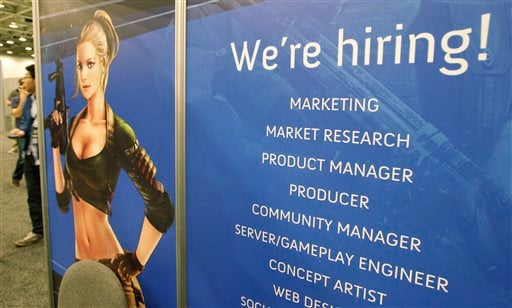 Tencent America job booth is shown at the Game Developers Conference in San Francisco on Tuesday.