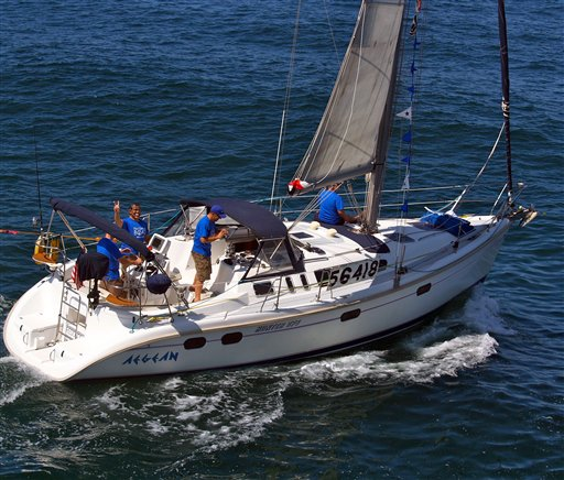 This Friday, April 27, 2012, photo shows the Aegean with crew members at the start of a 125-mile Newport Beach, Calif. to Ensenada, Mexico, yacht race.
