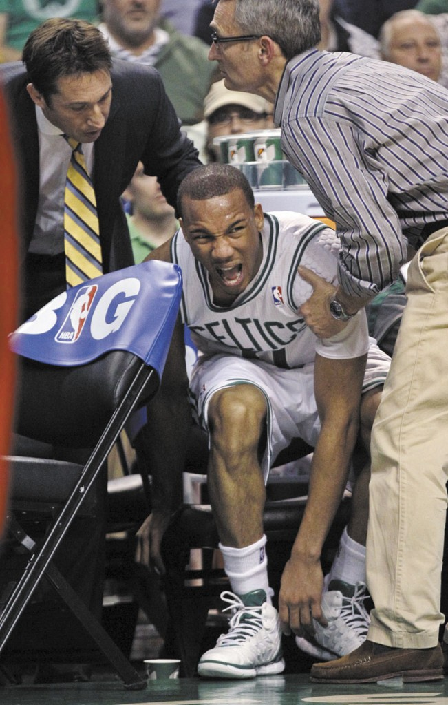OUCH: Boston Celtics guard Avery Bradley will miss the remainder of the playoffs after having surgery on his left shoulder. The Celtics paly the 76ers in Game 7 of an Eastern Conference semifinal series today in Boston.