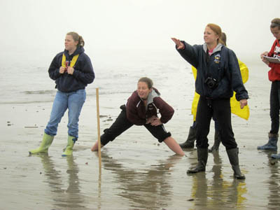 CALCULATING: Richmond High School students, from left, senior Lindsy Hoopingarner, junior Heather Brown and junior Noell Acord gather data on waves Wednesday at Popham Beach State Park. Students planned to compare data they collected with a computer's analysis of video they also shot.