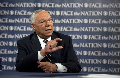 """In this photo released by CBS, Former Secretary of State General Colin Powell, speaks on CBS's """"Face the Nation"""" in Washington Sunday, Aug. 28, 2011. Powell saidthis week he's not yet ready to endorse President Barack Obama for re-election. (AP Photo/CBS, Chris Usher)"""