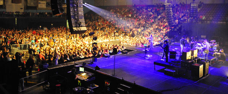 Lights on the crowd show some of the 3,000 fans that attended the Dierks Bentley show Thursday at the Augusta Civic Center.