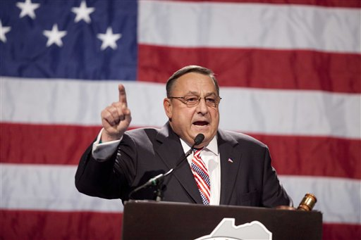 Gov. Paul LePage speaks at the Maine Republican Convention at the Augusta Civic Center in Augusta, Maine, Sunday, May 6, 2012. (AP Photo/Robert F. Bukaty)