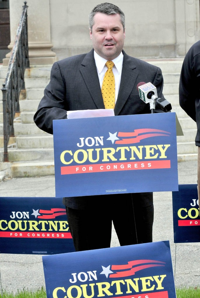 Sen. Jon Courtney stopped in Waterville on Thursday and announced that he is running against First Congressional District incumbent Chellie Pingree.